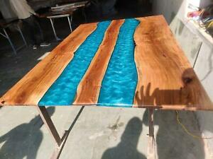Custom-Made Artisan Table Solid Poplar Wood With Its River Epoxy Resin Decorate