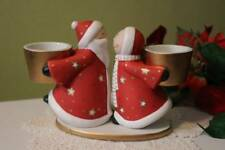 Santa Claus and the Mrs. Kissing PartyLite Candle Holder 7.5 inch Ceramic