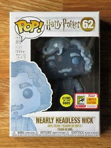 NEW Funko Pop Nearly Headless Nick GITD 62 Harry Potter SDCC w/Protector NM-MINT