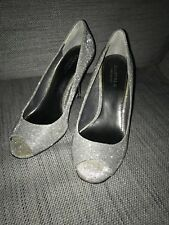 Carvela Grey Sparkly Size 6 Heels Open Toe Silver Heel Party Occassion