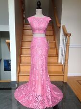 JOVANI 24241 Hot-Pink 2PC Lace Prom Pageant Formal Dress Gown  2