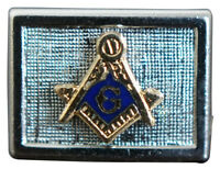 Swank Sterling Silver Enamel Masonic Lapel Pin Compass