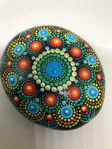 mandala painted stones unique gift popping colors positive energy home decor