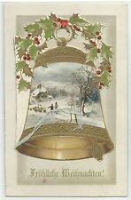 Weihnachten Klappkarte Glocke kann man aufklappen Gold-Präge-Litho um 1900 RR!
