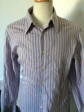 Ps Paul Smith Mens Striped Cotton Silk Button Front Pink Blue Shirt Large