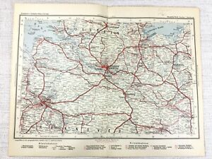 1902 Antique Railway Map of Hamburg Germany Lubeck Bremen Altona German Railroad