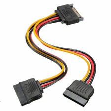 1* New 15 Pin Sata Male to 2 Sata Female Power Splitter Y Cable FAST Shipping !