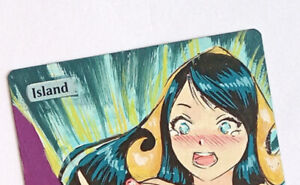 Hand Painted Altered Art Magic The Gathering Card MTG Island Anime Girl Liliana