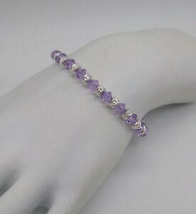 M/w Swarovski Crystal Violet Bicone & Silver Rondel Beaded Anklet or Bracelet