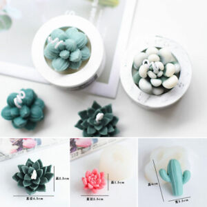 Succulent Cacti Candle Mold Moulds DIY Craft Soap Plaster Silicone Moulds