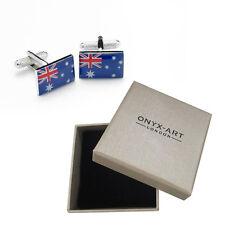 Mens Australian Flag Country Cufflinks & Gift Box By Onyx Art - Australia
