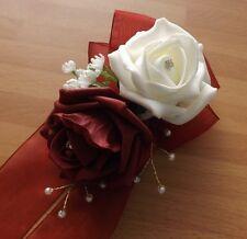 Wedding flowers bridesmaids wrist corsage Burgundy/ivory roses,diamante pearls