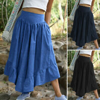 UK Women Flare Wide Leg Pants Casual Loose Culottes Skirts Belted Trousers Dress