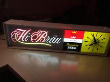 Vntg Hi-Brau Premium Beer Wisconsin Brewed Light Clock Works Great! Advertising