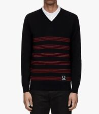 FRED PERRY Raf Simons V-neck JUMPER cotton black