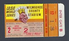 1958 WORLD SERIES NEW YORK YANKEES @ MILWAUKEE BRAVES BASEBALL TICKET STUB GM#2
