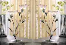 "2 CALLA LILY CANDLE HOLDERS - 15"" HIGH - IRON & GLASS - PEWTER"