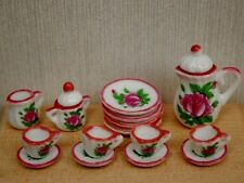 Pink Rose Tea Set, Dolls House Miniatures, Kitchen Dining 1.12 Scale