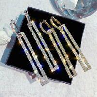 Luxury Crystal Geometric Long Hoop Earrings Womens Wedding Party Jewellery Gift