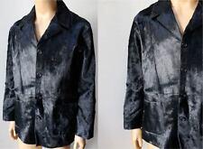 Russian Pony Hair Fur Vintage Blazer Button Blazer Rare Black Jacket Coat XXL