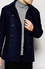SISLEY Double-Breasted Virgin Wool Pea Coat Jacket UK Size 48/Medium - 80% Wool