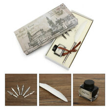 Vintage goose feather quill pen metal nib dip writing black ink set collectable