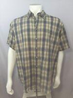 St. Johns Bay Mens Casual Shirt Short Sleeve Blue Plaid Work L Large