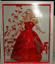 BARBIE 2012 HOLIDAY COLLECTOR BLONDE DOLL IN A RED SATIN GOWN