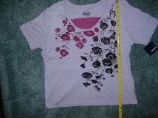 BASIC EDITIONS PURPLE FLORAL SCOOP NECKTOP SIZE XLARGE NWT XL