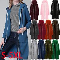 Womens Ladies Plain Zip Up Hooded Hoodie Sweatshirt Jumper Jacket Long Coat Tops