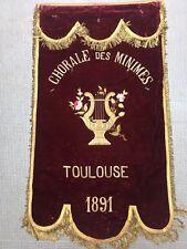 Très Belle Bannière 1891 De Chorale Toulouse Velours broderies Or XIX 127 x 73cm