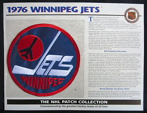 WILLABEE & WARD ~ NHL THROWBACK HOCKEY PATCH & INFO CARD ~ 1976 WINNIPEG JETS