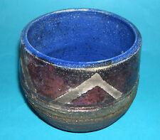 Studio Pottery - Quality Made Multi Glazed Textured Stoneware Bowl (Makers Mark)
