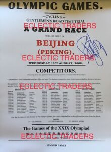 Fabian Cancellara SIGNED 2008 Beijing Olympics cycling GOLD. A3 poster w PROOF!