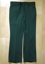 Vgc Vtg 70s Green Poly Textured Waffle Knit Disco Pimp Wide Leg Flare Pants 32