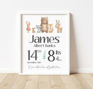 Personalised Baby Print - Boy/Girl Nursery Gifts -  Animals & Birth Stats