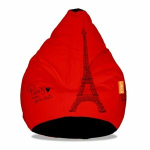 Bean bag cover Leather Printed Bean Bag XXXL Cover Only Luxury Home decor Red