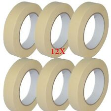 12 X LOW TACK MASKING TAPE 25MM X 50M PAINTING MASK DECORATE Multi Surface Use