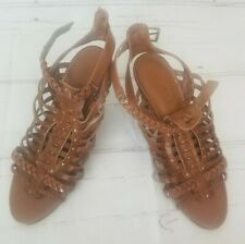 guess sandals sz 7.5M brown woven gladiator wedge sandals womens shoes