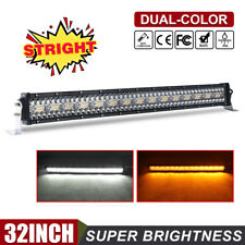 "32"" Amber White Color LED Work Light Bar 12D 3 Rows Strobe Combo Beam Snow Lamp"