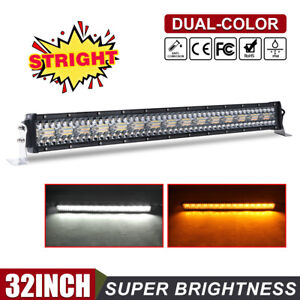 """32"""" Amber White Color LED Work Light Bar 12D 3 Rows Strobe Combo Beam Snow Lamp"""