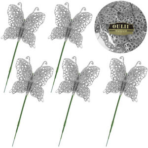 Luxury Glitter Christmas Tree Butterfly / Butterflies Bauble Glitter Decorations