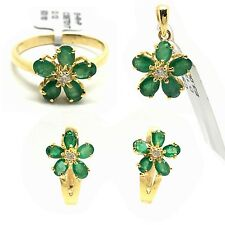 14k Yellow Gold Emerald And Diamond Earrings Ring Pendant May Birthstone