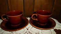 Reduced! Two Sets--VINTAGE 1960'S SHEFFIELD AMBERSTONE FIESTA WARE CUP/SAUCERs