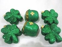 Lot of (6) St Patricks Day Glitter Shamrock & Pot Of Gold Ornaments Decorations