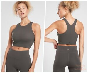 ATHLETA Conscious Crop D-DD Tank Top L LARGE Arbor Olive   Bra-Support Workout