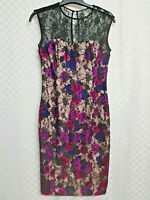 Ladies FRENCH CONNECTION Wiggle Dress Size 10 Beige Floral Black Lace Sleeveless
