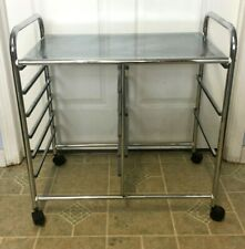 Chrome Bar Cart Cocktail Trolley Serving tray - Mid Century Modern Style