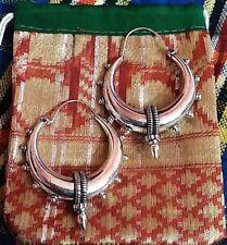 EXTRA LARGE 925 SILVER OVERLAY MANDALA HANDMADE TRIBAL BRASS HOOP GYPSY EARRINGS