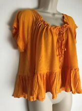 FREE PEOPLE PRETTY COTTON JERSEY GYPSY TOP (SIZE XS/S) ORANGE